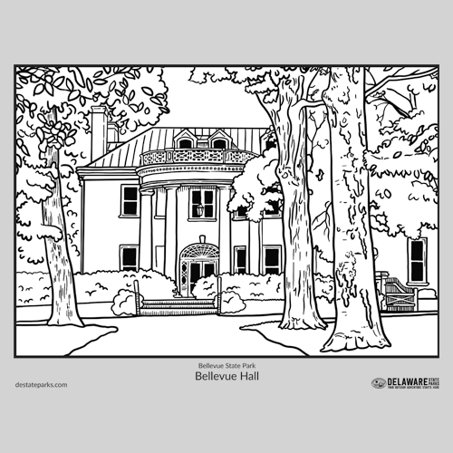Bellevue Hall coloring page thumbnail
