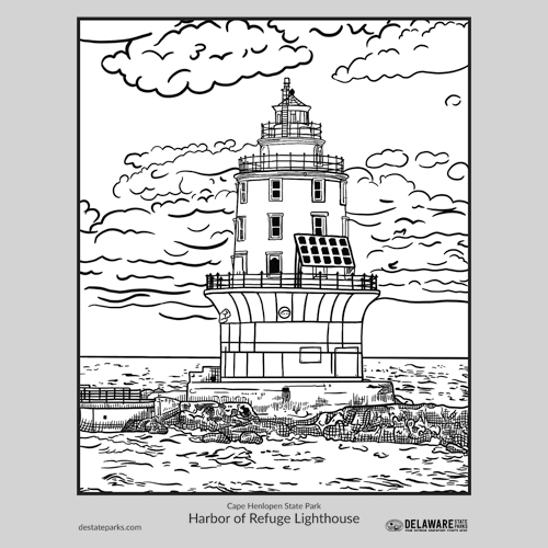 Harbor of Refuge Lighthouse coloring page thumbnail