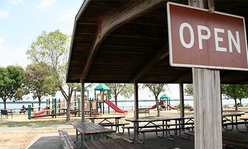 Pavilion and playground at Fox Point State Park