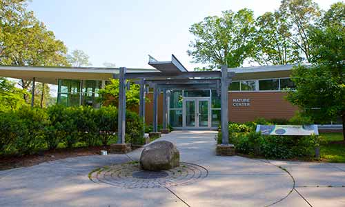 The Killens Pond Nature Center features environmentally-conscious architecture and amazing views of the pond.
