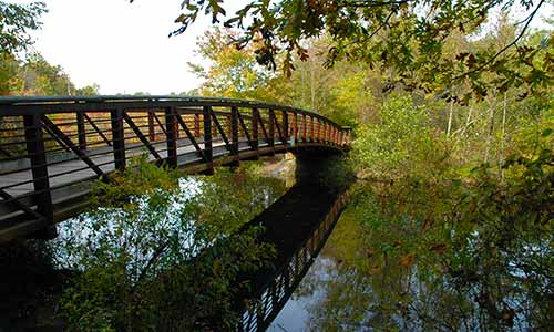 The Pondside Bridge at Killens Pond offers great views of the pond.