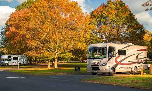 RV at the Lums Pond State Park campground