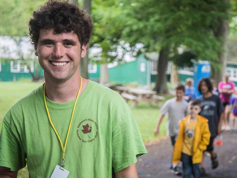 Early childhood education intern working at a summer camp