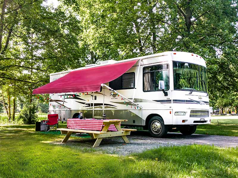 RV camping at Lums Pond State Park - summer camping discount