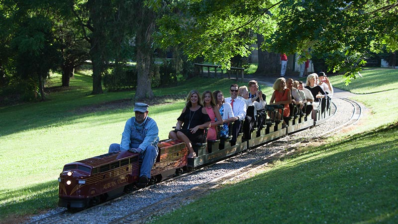 people riding the auburn heights mini train