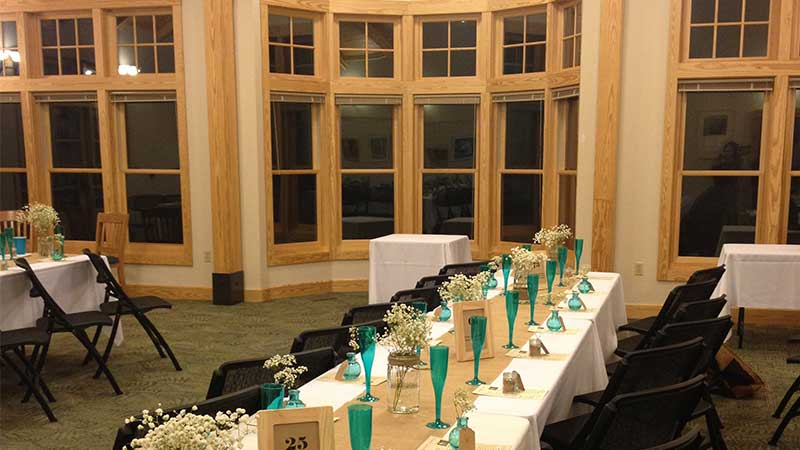 nature center hall with table settings