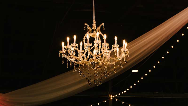 chandelier in barn