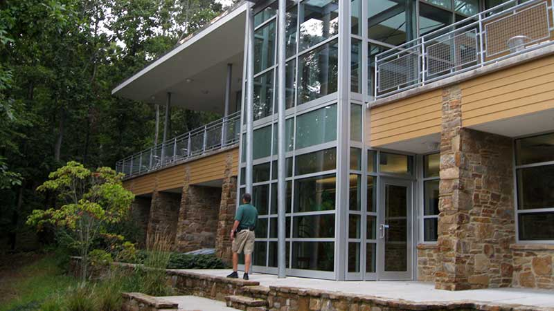 exterior view of pond facing side of nature center