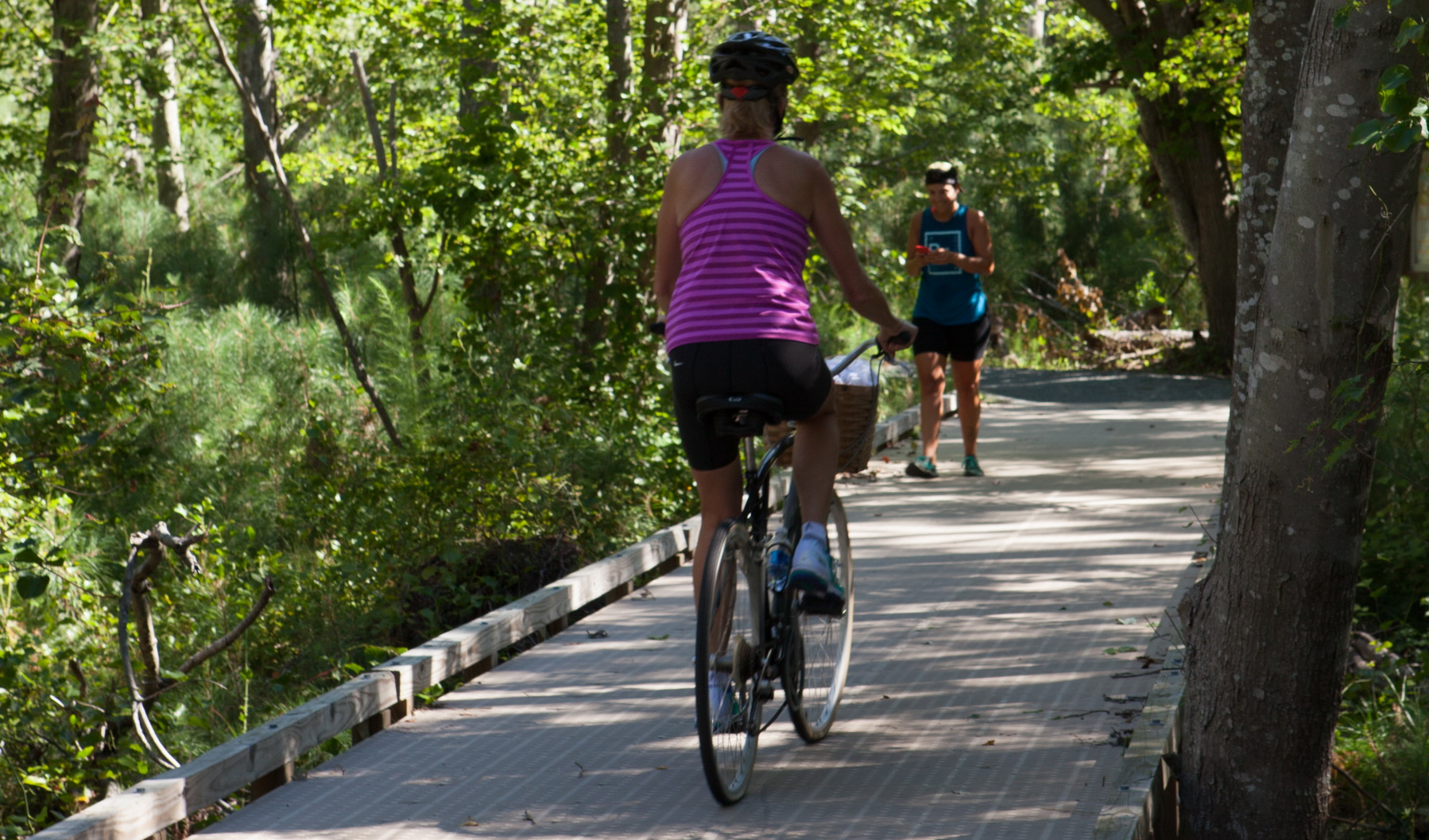 Hikers and bikers beat the heat on a cool stretch of the Fred Hudson Trail