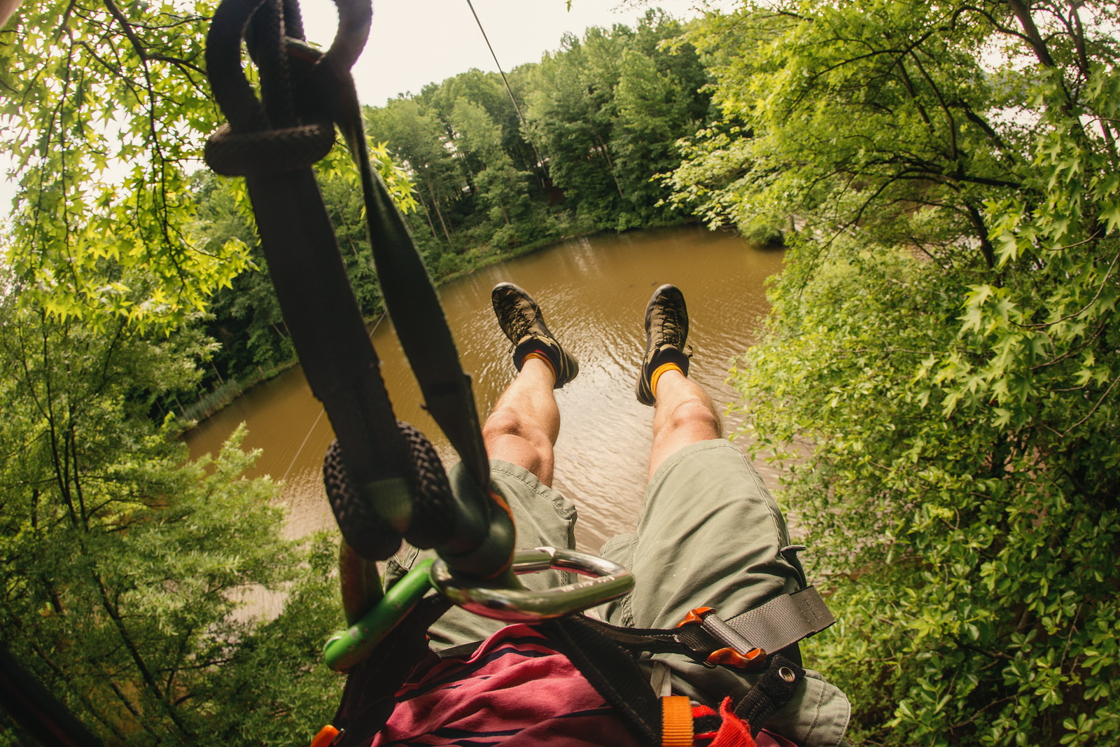 Ziplining at Go Ape Treetop Adventure Course at Lums Pond State Park